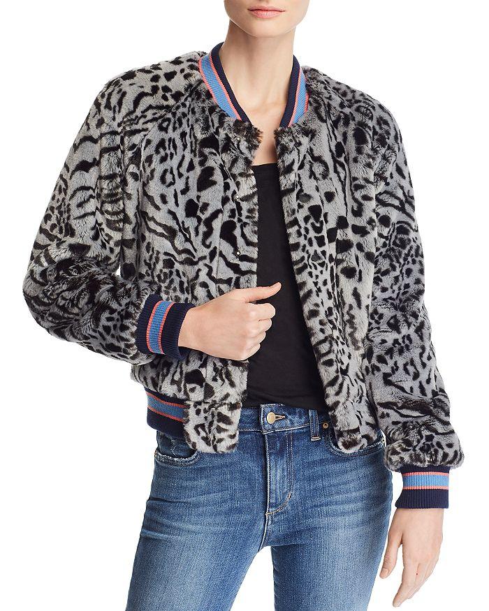 MOTHER - The Letterman Animal-Print Faux Fur Bomber Jacket