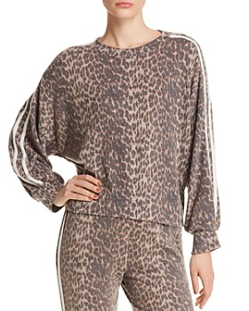 Vintage Havana - Track Stripe Leopard Sweatshirt