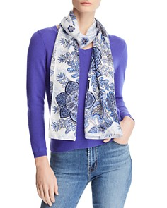 Echo - Floral Paisley Silk Oblong Scarf