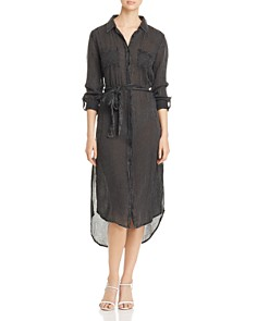 Elan - Striped Tie-Waist Shirt Dress