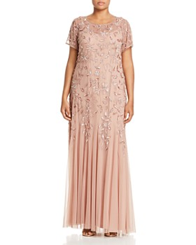 b5013b4bd57 Adrianna Papell Plus - Floral Embellished Godet Gown ...
