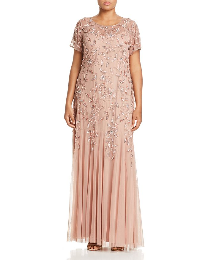 f625c901cec Adrianna Papell Plus - Floral Embellished Godet Gown