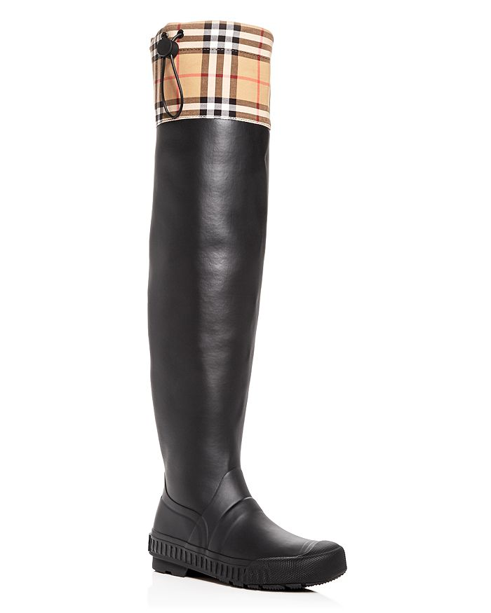 0769a15dee5 Burberry Women s Freddie Vintage Check Over-the-Knee Rain Boots ...