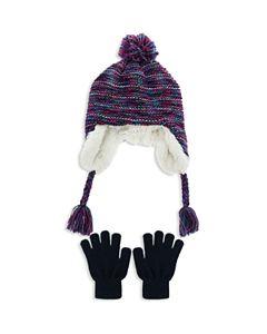 dae783c813a Capelli Girls  Iridescent Speckled Pom-Pom Hat   Gloves Set - Little ...