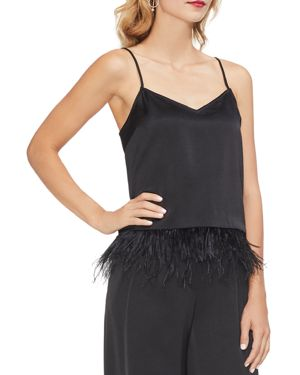 Vince Camuto Satin Feather-Hem Cami