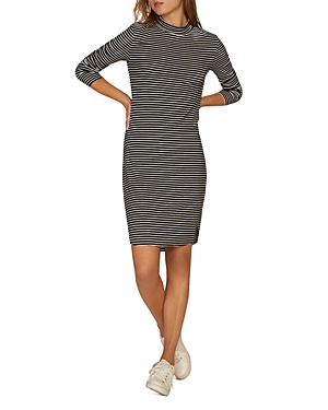 Sanctuary  ESSENTIALS STRIPED MOCK-NECK DRESS