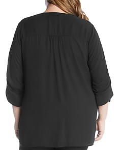 Karen Kane Plus - Ruched-Sleeve Crossover Top