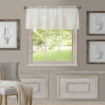 "Elrene Home Fashions - Addison Semi-Sheer Straight Window Valance, 60"" x 17"""