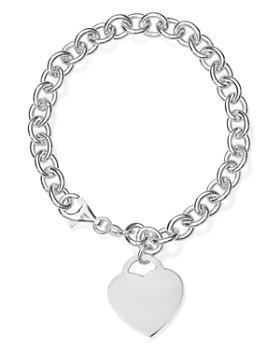 AQUA - Heart Charm Link Bracelet in Sterling Silver - 100% Exclusive