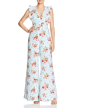 Likely Mara Ruffled Wide-Leg Floral Jumpsuit