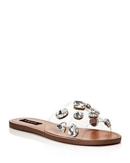 AQUA - Women's Twink Crystal-Embellished Clear Slide Sandals - 100% Exclusive