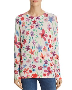 C by Bloomingdale's - Floral Print Cashmere Sweater - 100% Exclusive