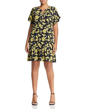 54926a7d6d71 MICHAEL Michael Kors Plus - Floral Lace-Up Ruffle Dress ...