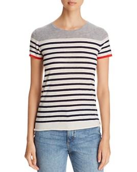Majestic Filatures - Striped Color Block Cashmere Short-Sleeve Sweater