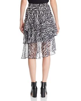 Lucy Paris - Asymmetric Zebra-Print Midi Skirt