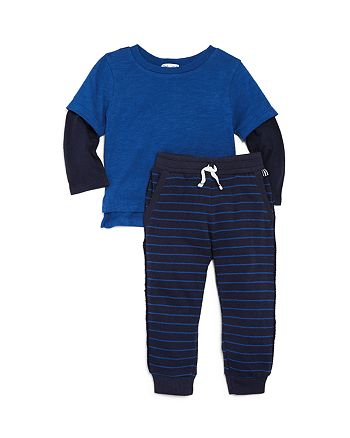 Splendid - Boys' Striped Layered-Look Tee & Jogger Pants Set - Baby