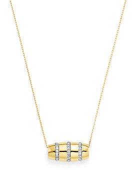 """Adina Reyter - 14K Yellow Gold Pavé Diamond Striped Barrel Pendant Necklace, 16"""""""
