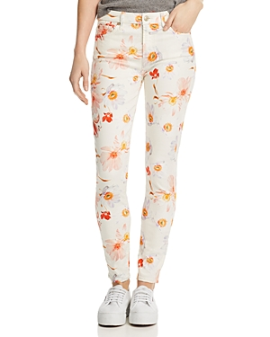 7 For All Mankind Jeans FLORAL-PRINTED ANKLE SKINNY JEANS IN BOW BLOSSOMS