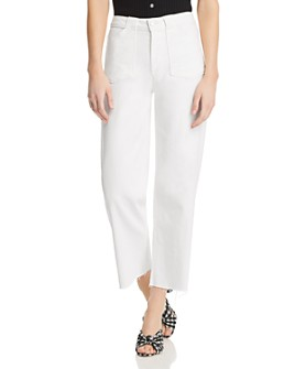 PAIGE - Nellie Crop Wide Leg Utility Jeans in Crisp White