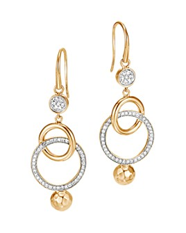 JOHN HARDY - 18K Yellow Gold Dot Orbital Drop Earrings with Pavé Diamond