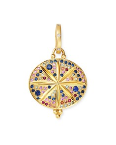 Temple St. Clair - 18K Yellow Gold Celestial Diamond, Multicolored Sapphire & Ruby Pavé Large Sorcerer Pendant