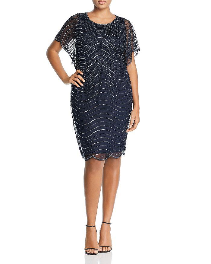Adrianna Papell Plus - Beaded Flutter-Sleeve Dress