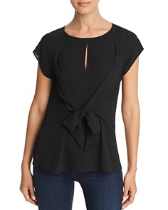 Status by Chenault - Tie-Waist Keyhole Top