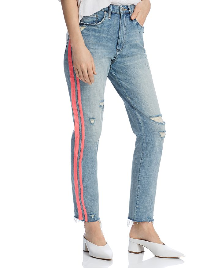 BLANKNYC - Track Stripe Distressed Straight-Leg Jeans in Now Or Never - 100% Exclusive