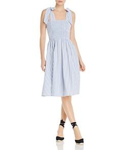 AQUA - Sleeveless Striped Smocked Midi Dress - 100% Exclusive