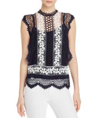 Sleeveless Semi Sheer Lace Top   100% Exclusive by Aqua