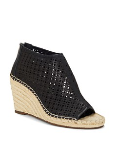 VINCE CAMUTO - Women's Lereena Caged Leather Peep Toe Espadrille Wedge Sandals