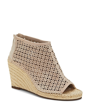 Vince Camuto Sandals WOMEN'S LEREENA CAGED LEATHER PEEP TOE ESPADRILLE WEDGE SANDALS