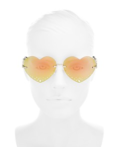 Kenzo - Women's Embellished Mirrored Heart Sunglasses, 63mm