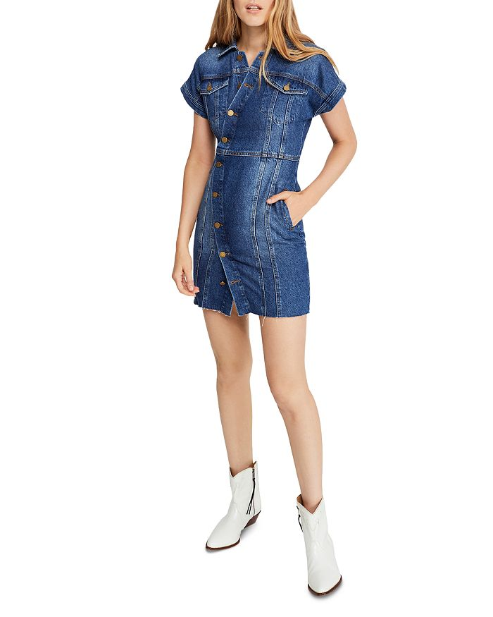 Free People - The City Button-Front Denim Dress