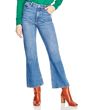 Sandro Rudolphe High Rise Flared-Leg Jeans in Blue Vintage