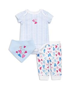 Little Me - Girls' Heart Bodysuit, Pants & Bandana Bib Set - Baby