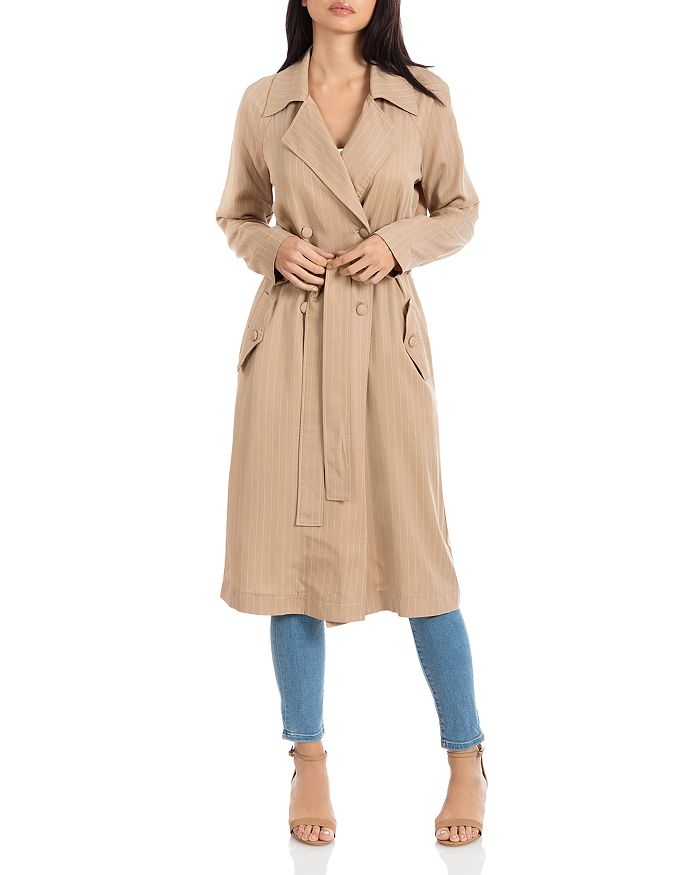 Avec Les Filles - Pinstriped Long Trench Coat - 100% Exclusive