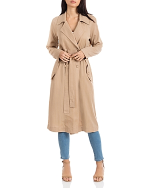 Avec Les Filles Pinstriped Long Trench Coat - 100% Exclusive