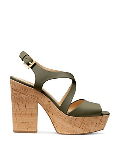 MICHAEL Michael Kors - Women's Abbott Leather Platform Wedge Sandals - 100% Exclusive