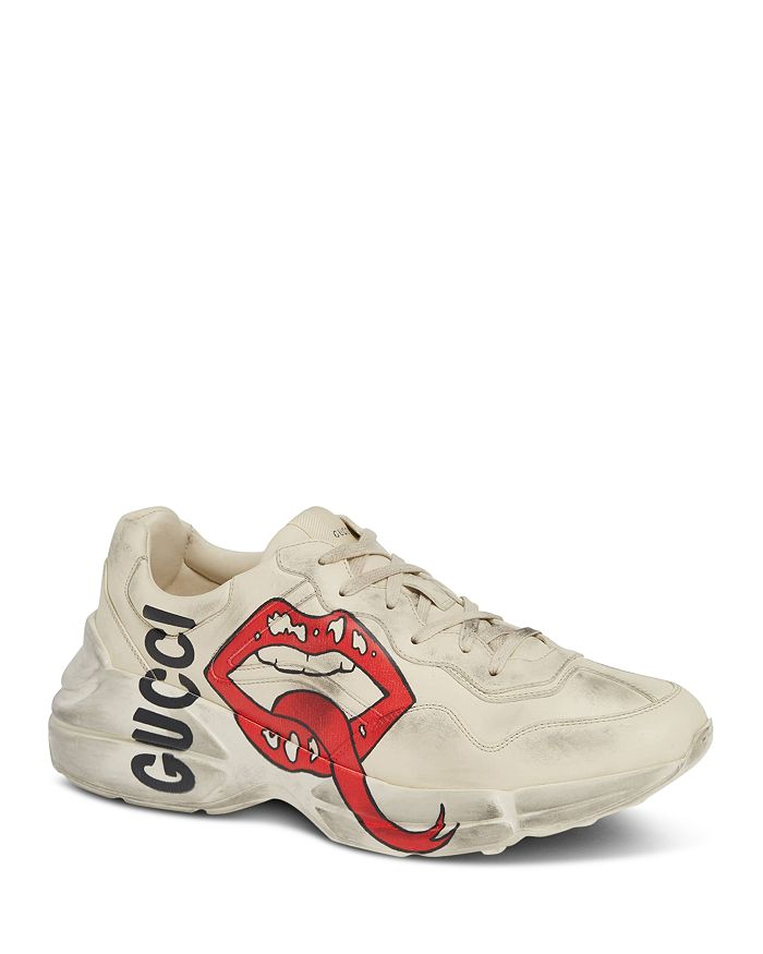 Gucci - Men's Rhyton Mouth Print Leather Sneakers