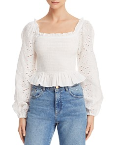 Cotton Candy LA - Square-Neck Smocked Eyelet Top