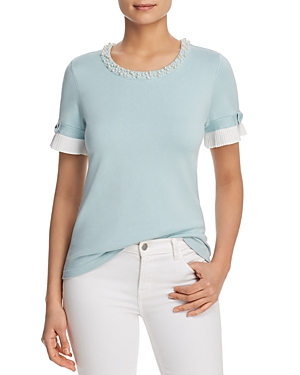 Karl Lagerfeld Sweaters EMBELLISHED SHORT SLEEVE SWEATER