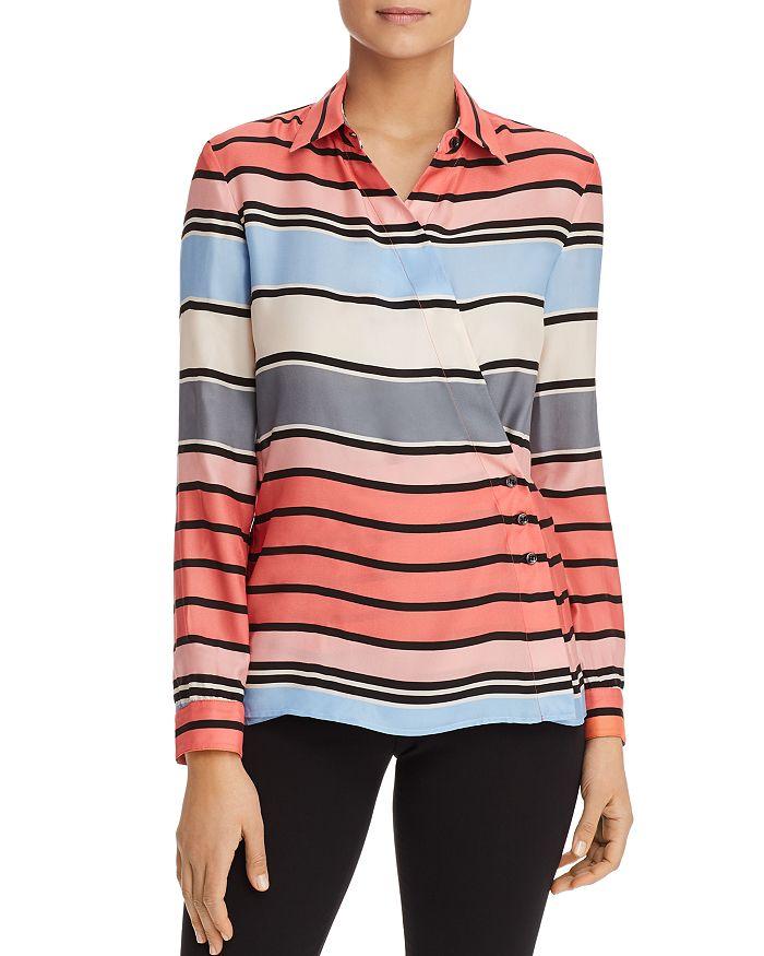 Armani - Striped Crossover Silk Shirt