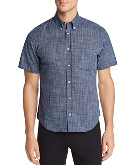 Billy Reid - Kirby Short-Sleeve Micro-Plaid Slim Fit Button-Down Shirt