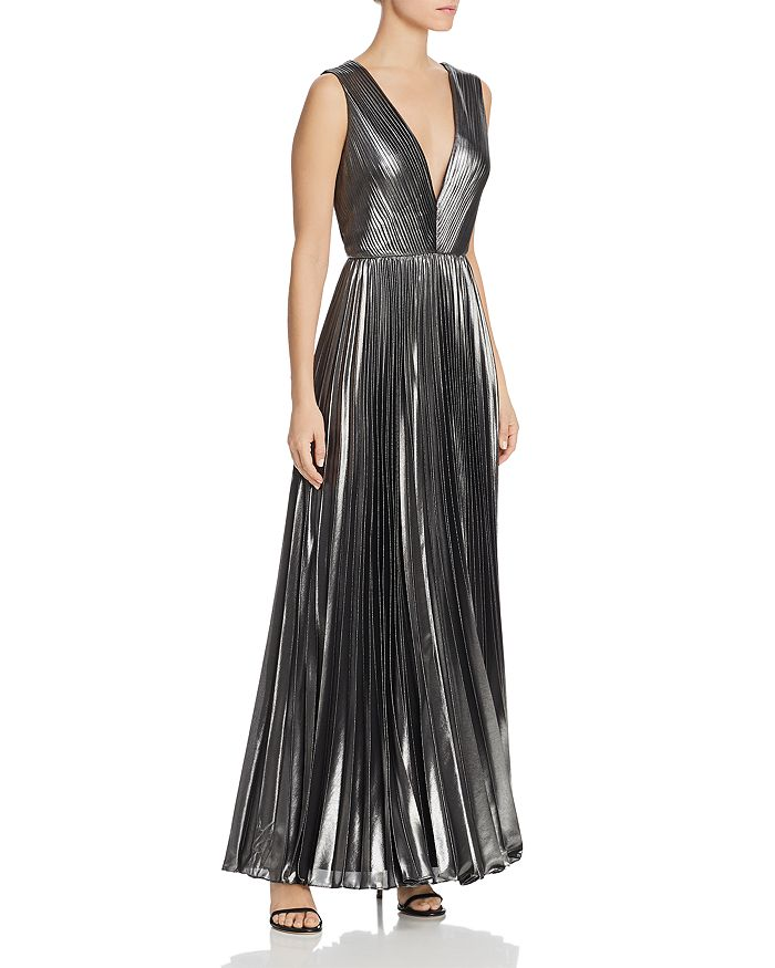 Aidan by Aidan Mattox - Plunging Foiled-Chiffon Gown - 100% Exclusive