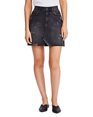 Free People Skirts HALLIE DISTRESSED DENIM MINI SKIRT IN BLACK