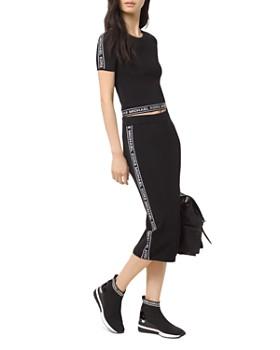MICHAEL Michael Kors - Logo Sleeve Cropped Tee & Logo Midi Pencil Skirt