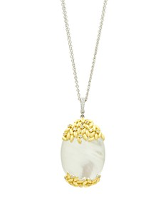 """Freida Rothman - Fleur Bloom Oval Pendant Statement Necklace in 14K Gold-Plated & Rhodium-Plated Sterling Silver, 27"""""""