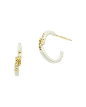 Freida Rothman Fleur Bloom Small Hoop Earrings in 14K Gold-Plated & Rhodium-Plated Sterling Silver