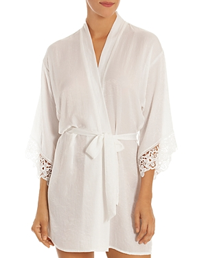 In Bloom By Jonquil Tops IN BLOOM BY JONQUIL SATIN & LACE WRAP ROBE
